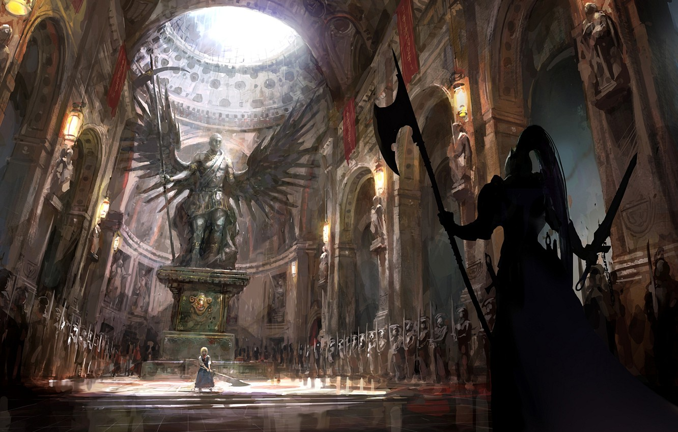 Photo wallpaper girl, weapons, wings, war, art, temple, statue, saber, fate stay night