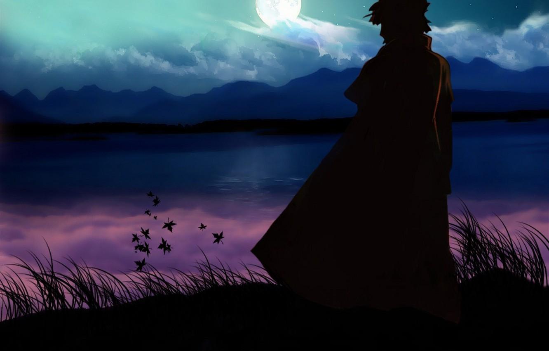 Photo wallpaper mountains, lake, the moon, rock, naruto, namikaze minato
