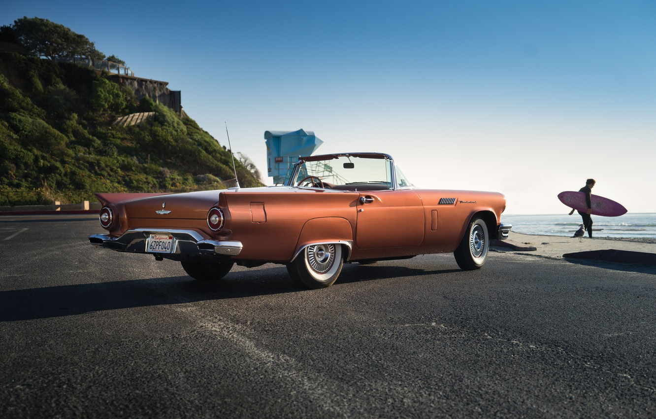 Photo wallpaper road, Ford, Ford, classic, Special, 1957, Supercharged, Thunderbird, T-Bird, Thunderbird