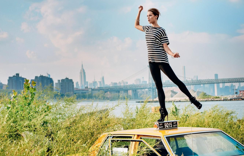Photo wallpaper landscape, bridge, pose, river, home, figure, actress, t-shirt, car, the bushes, striped, photoshoot, Alicia Vikander, …