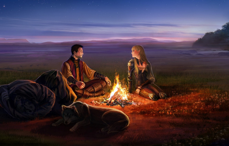Photo wallpaper girl, night, flame, the fire, art, male, elf, backpack, anndr