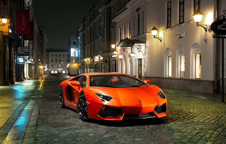 Photo wallpaper Night, Lamborghini, Street, Orange, Building, LP700-4, Aventador, The front, Sports car