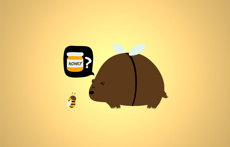 Photo wallpaper bee, honey, Bear