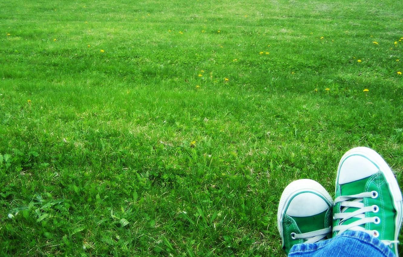Photo wallpaper grass, sneakers, Green