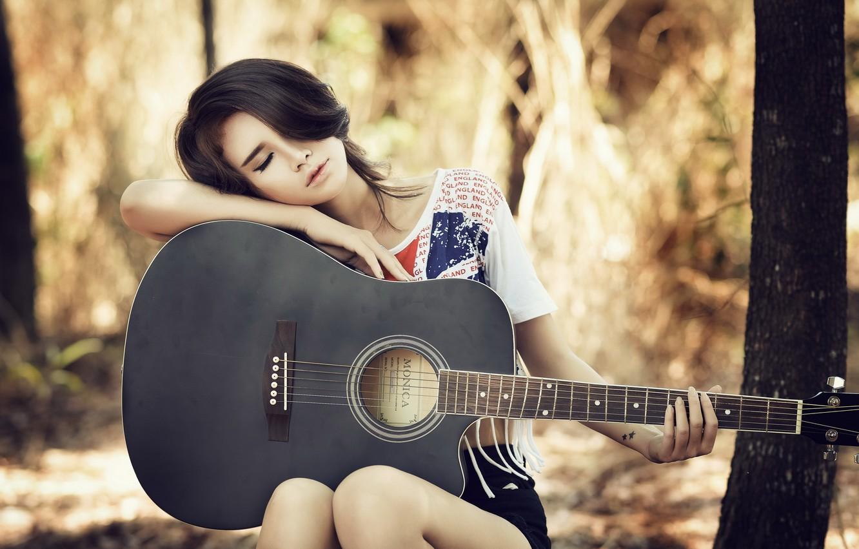Photo wallpaper girl, guitar, Asian