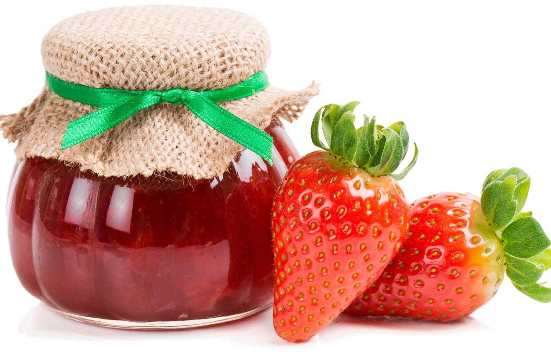 Photo wallpaper strawberry, Bank, leaves, jam