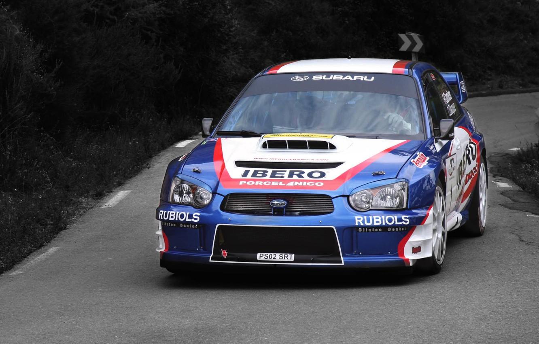 Photo wallpaper sport, Auto, Blue, Subaru, Impreza, Machine, Race, The hood, WRX, STI, WRC, Rally, The front