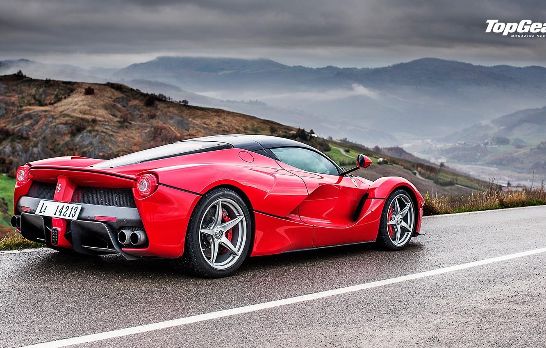 Photo wallpaper Top Gear, Ferrari, Red, Landscape, Rain, Supercar, LaFerrari, Rear