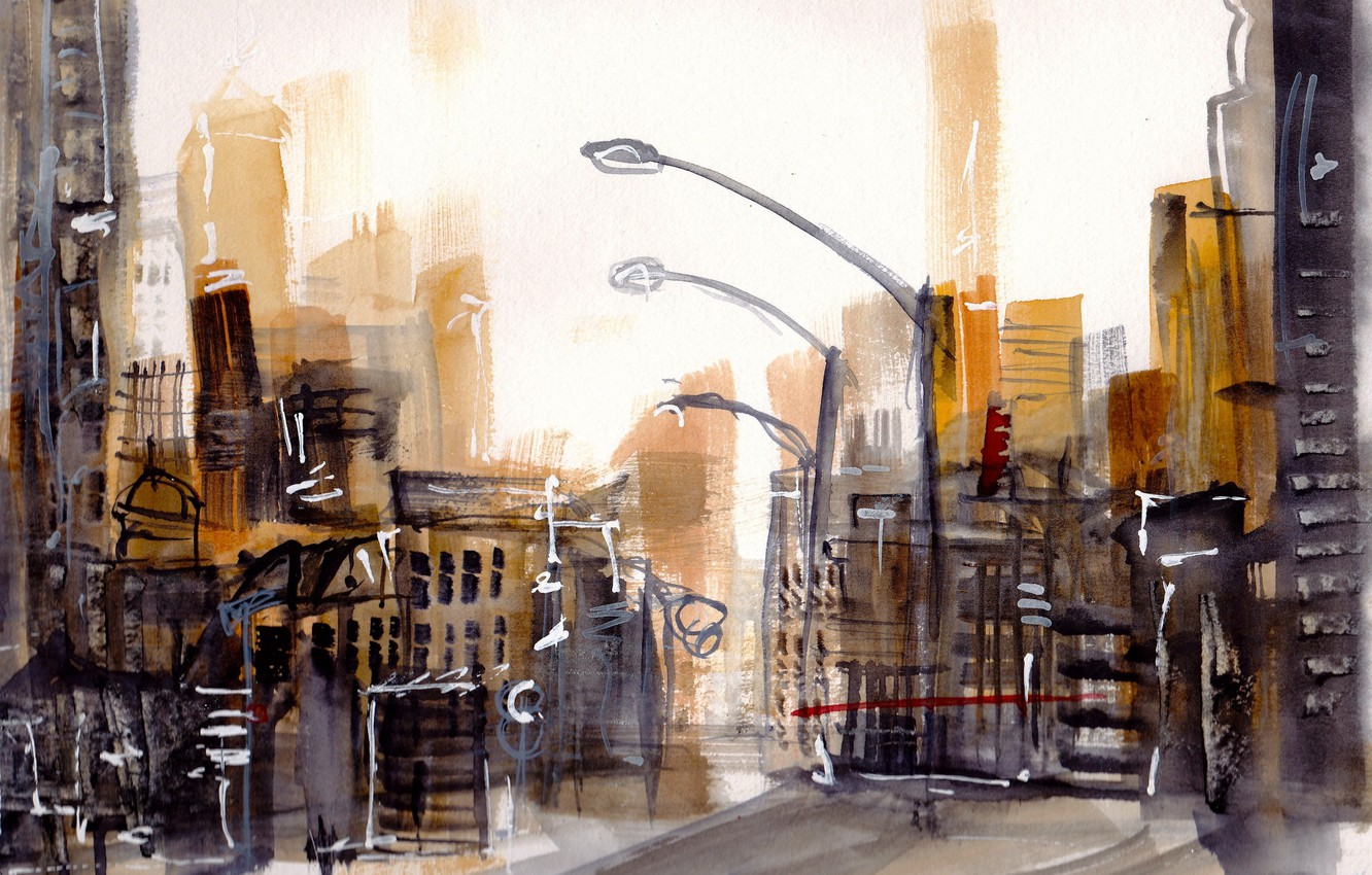 Photo wallpaper the city, street, watercolor