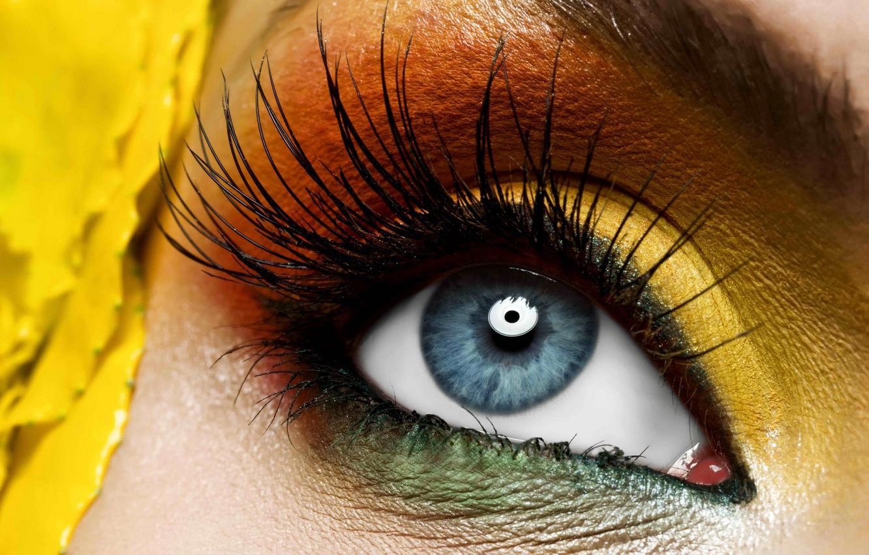 Photo wallpaper yellow, eye, makeup
