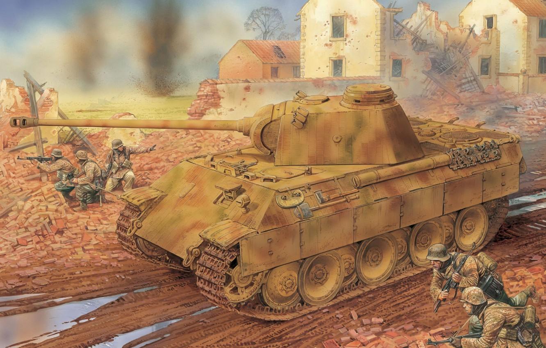 Photo wallpaper Figure, Panther, Panther, PzKpfw V, German, Sd. Car. 171, Panzerkampfwagen V, Medium-heavy tank, Infantry division …