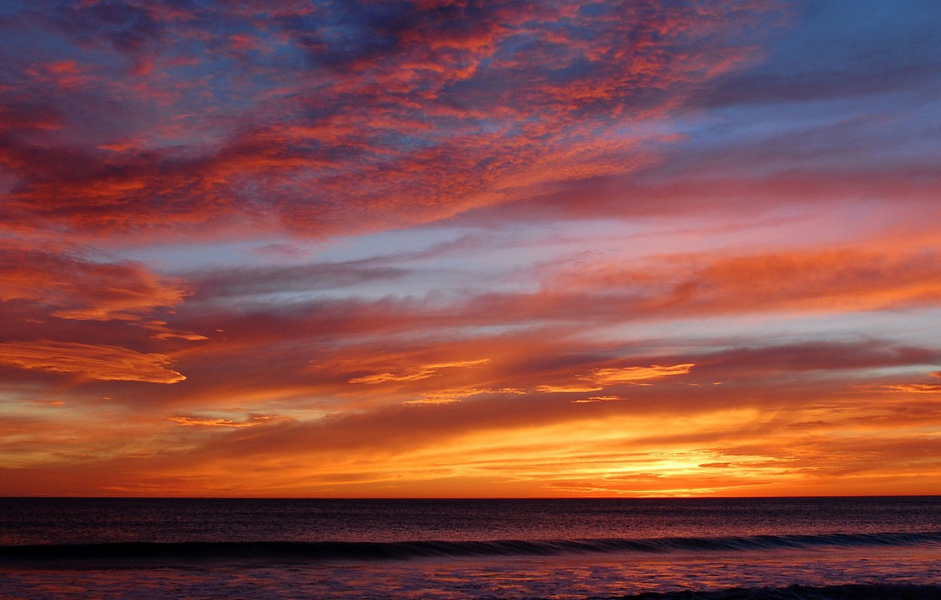 Photo wallpaper sea, wave, clouds, sunset