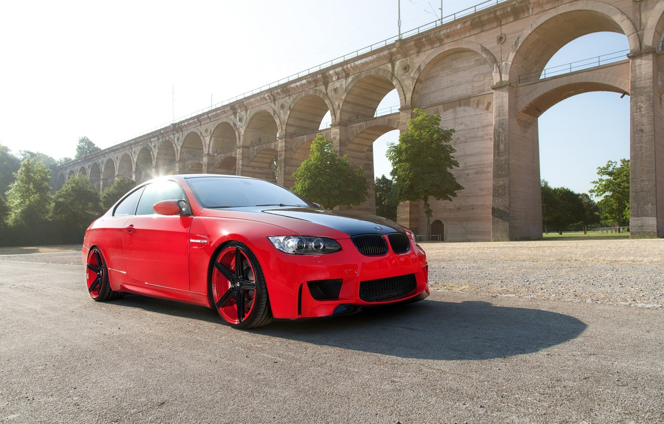 Photo wallpaper red, bmw, BMW, coupe, shadow, red, wheels, drives, Blik, e92