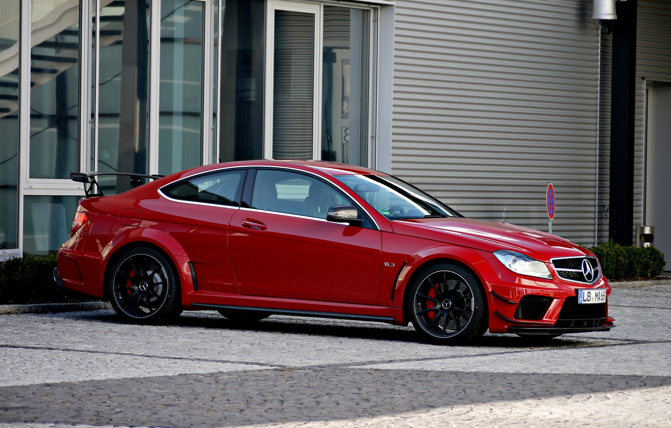 Photo wallpaper red, coupe, Mercedes, red, Mercedes, AMG, Coupe, Black Series, C63