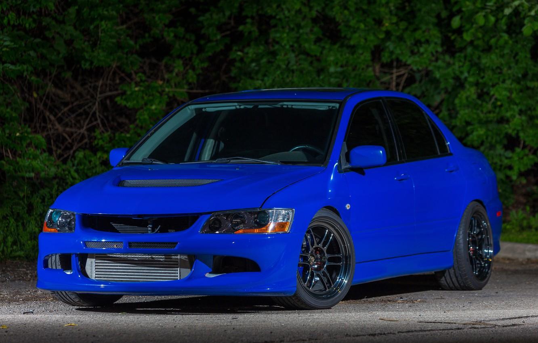 Photo wallpaper Mitsubishi, Lancer, Evolution, Blue, Night