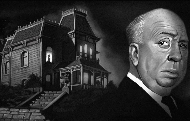 Photo wallpaper night, house, window, art, psycho, Alfred Hitchcock, Hitchcock