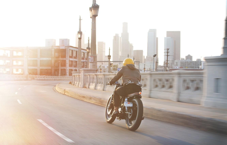 Photo wallpaper city, yamaha, motorcycle, sr500