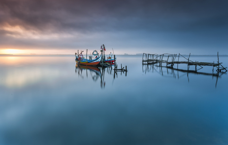 Photo wallpaper ocean, portugal, pier, boat, aveiro lagoon