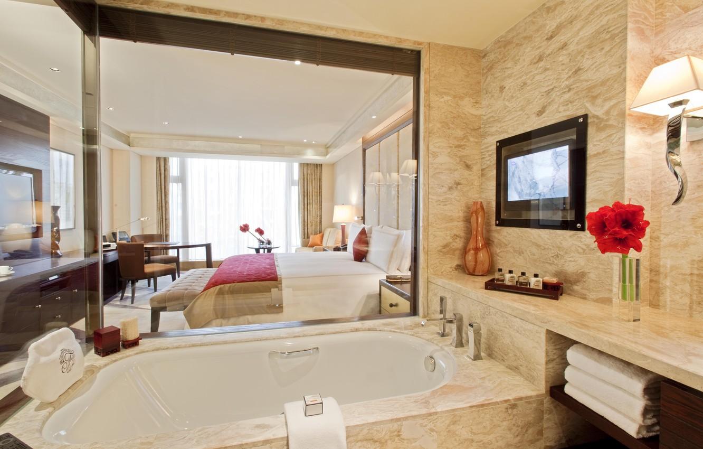 Photo wallpaper table, room, Wallpaper, interior, room, bath, wallpaper, fruit, towels, Suite, BED, TV