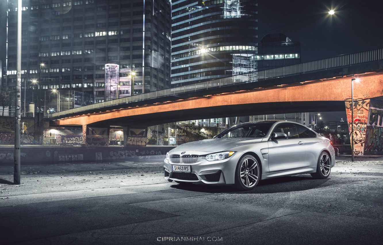 Photo wallpaper BMW, bridge, Coupe, front, silvery, F82, Ciprian Mihai