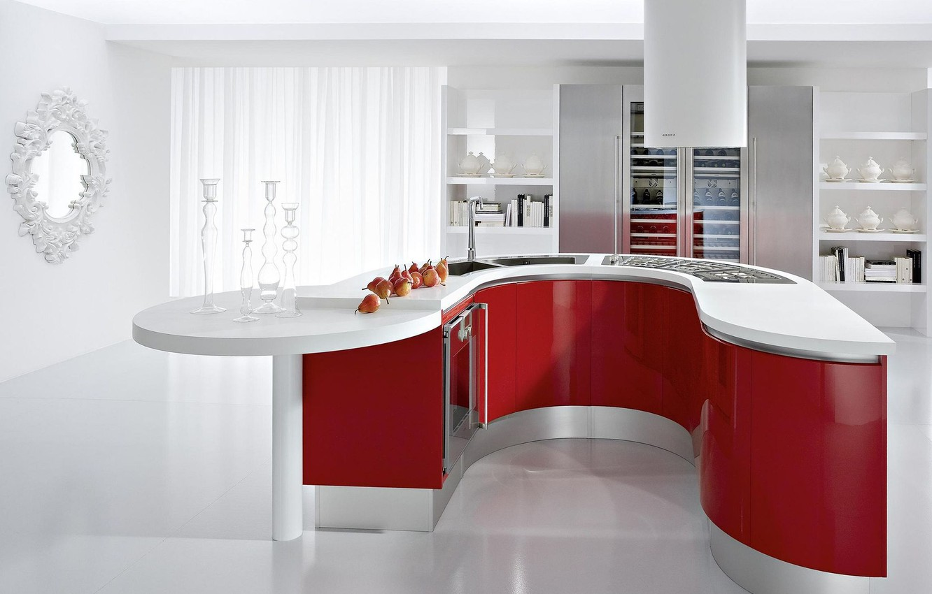 Photo wallpaper design, house, style, table, room, interior, mirror, kitchen, white, apartment, red, pear