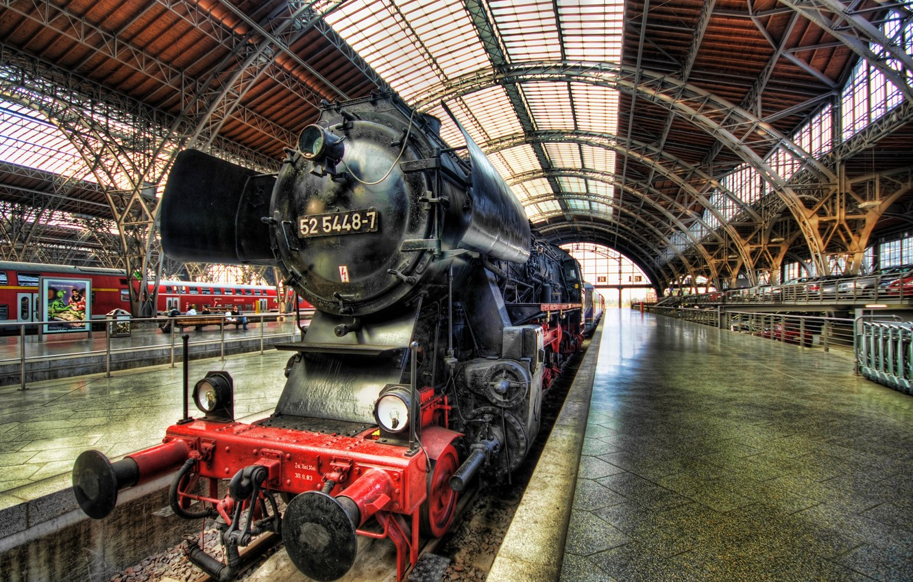 Photo wallpaper the engine, Germany, Dresden, Steam Train