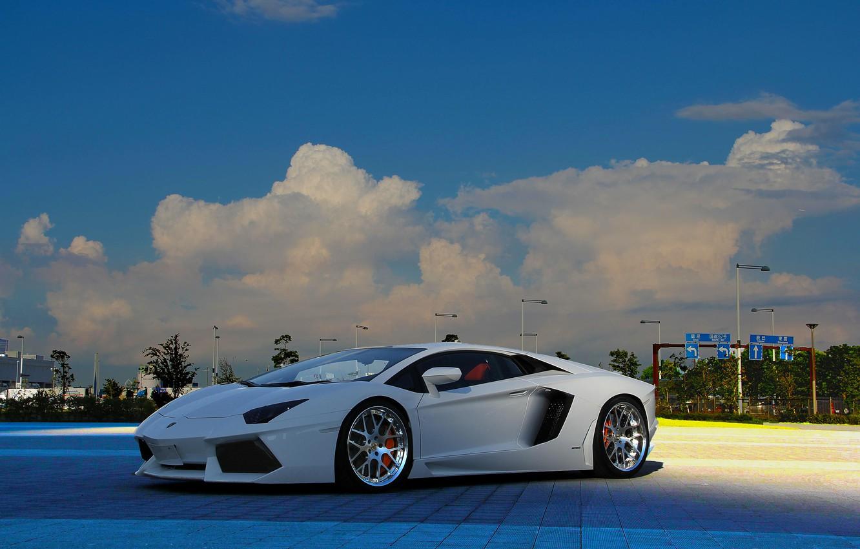 Photo wallpaper white, the sky, clouds, lights, white, lamborghini, front view, aventador, Lamborghini, aventador, lp-700-4