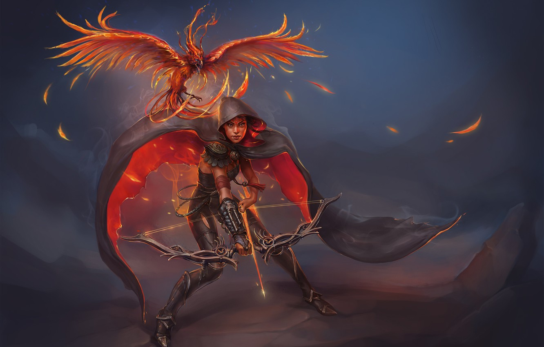 Photo wallpaper girl, fire, bird, bow, arrows, Phoenix, art