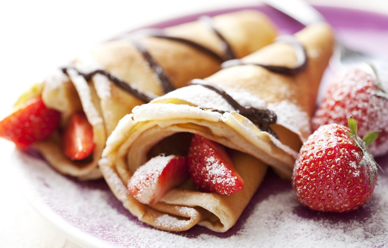 Photo wallpaper food, strawberry, pancakes, dessert, powdered sugar