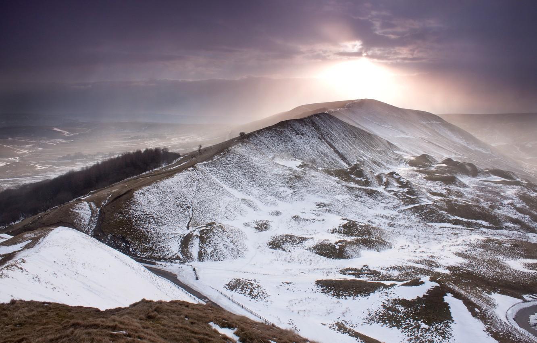 Photo wallpaper winter, the sky, the sun, snow, clouds, mountain, England