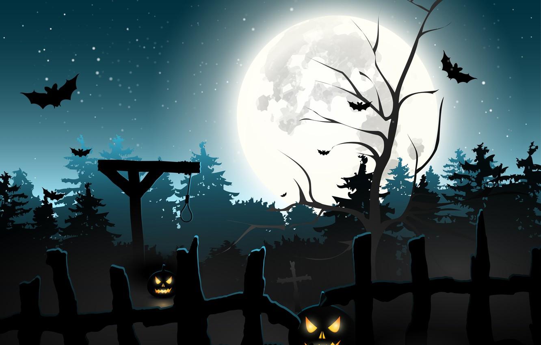 Photo wallpaper forest, cemetery, pumpkin, horror, horror, Halloween, scary, forest, halloween, midnight, bats, pumpkins, midnight, creepy, full …