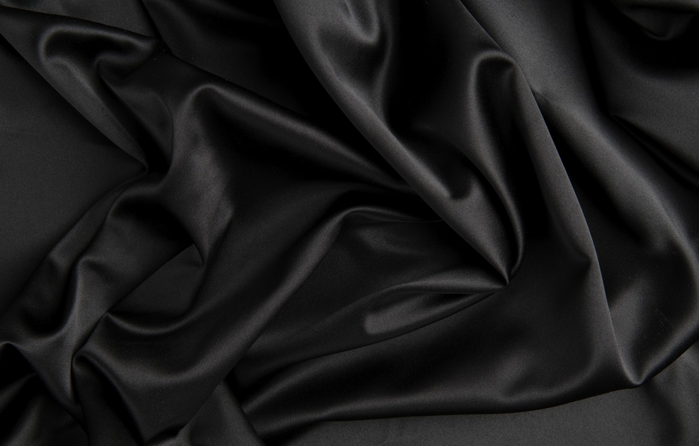 Photo wallpaper texture, silk, black, fabric, folds, satin