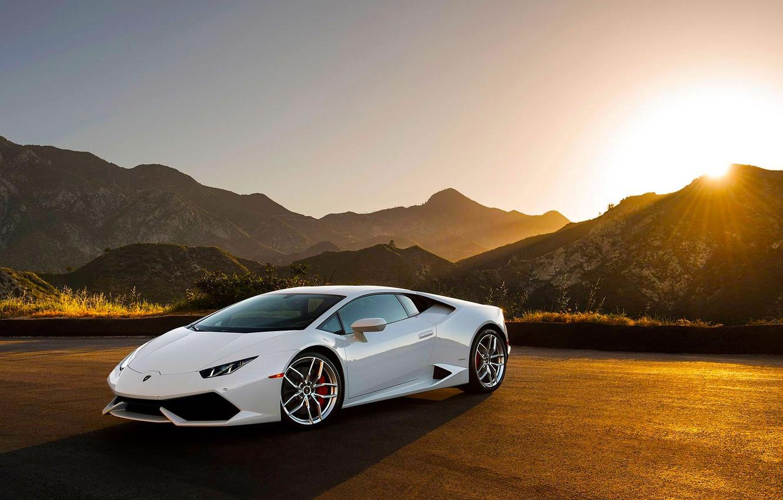 Photo wallpaper Lamborghini, Front, Sunset, White, Supercar, Huracan, LP640-4, Moutian