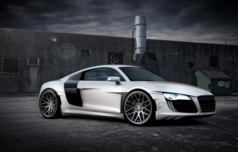 Photo wallpaper machine, Audi, white, supercar