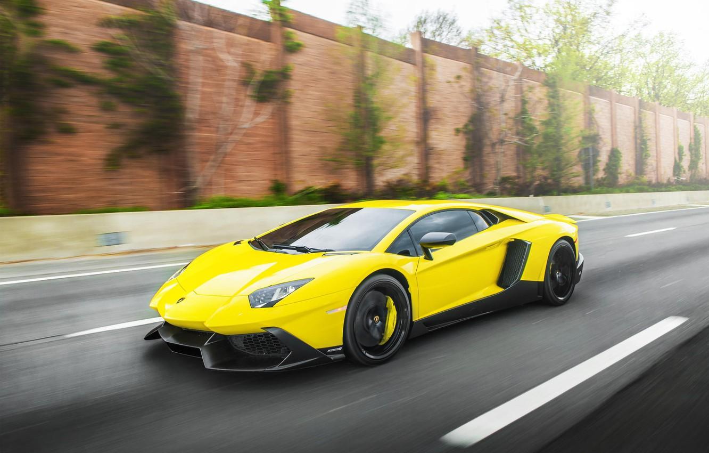 Photo wallpaper Road, Lamborghini, Speed, Lamborghini, Speed, Supercar, Yellow, Aventador, Road, Supercar, LP720-4, 50 Anniversario Edition