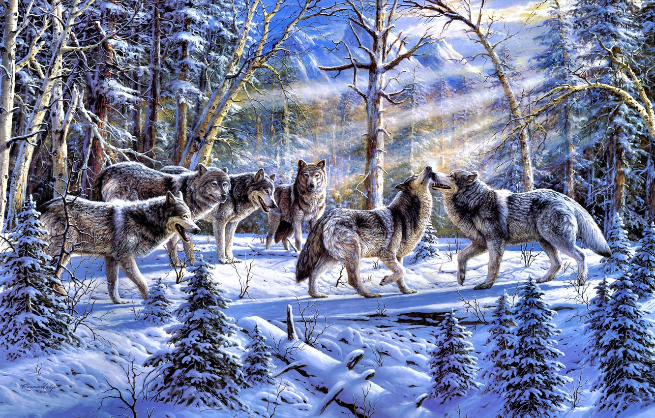 Photo wallpaper winter, forest, animals, nature, spruce, pack, wolves, painting, tree, the sun's rays, Ronnie Hedge, Kindred …
