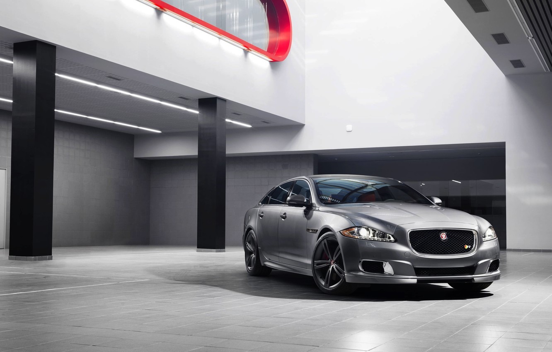 Photo wallpaper Jaguar, Auto, Jaguar, Silver, Sedan, Lights, The front, The room, 2014, XJR