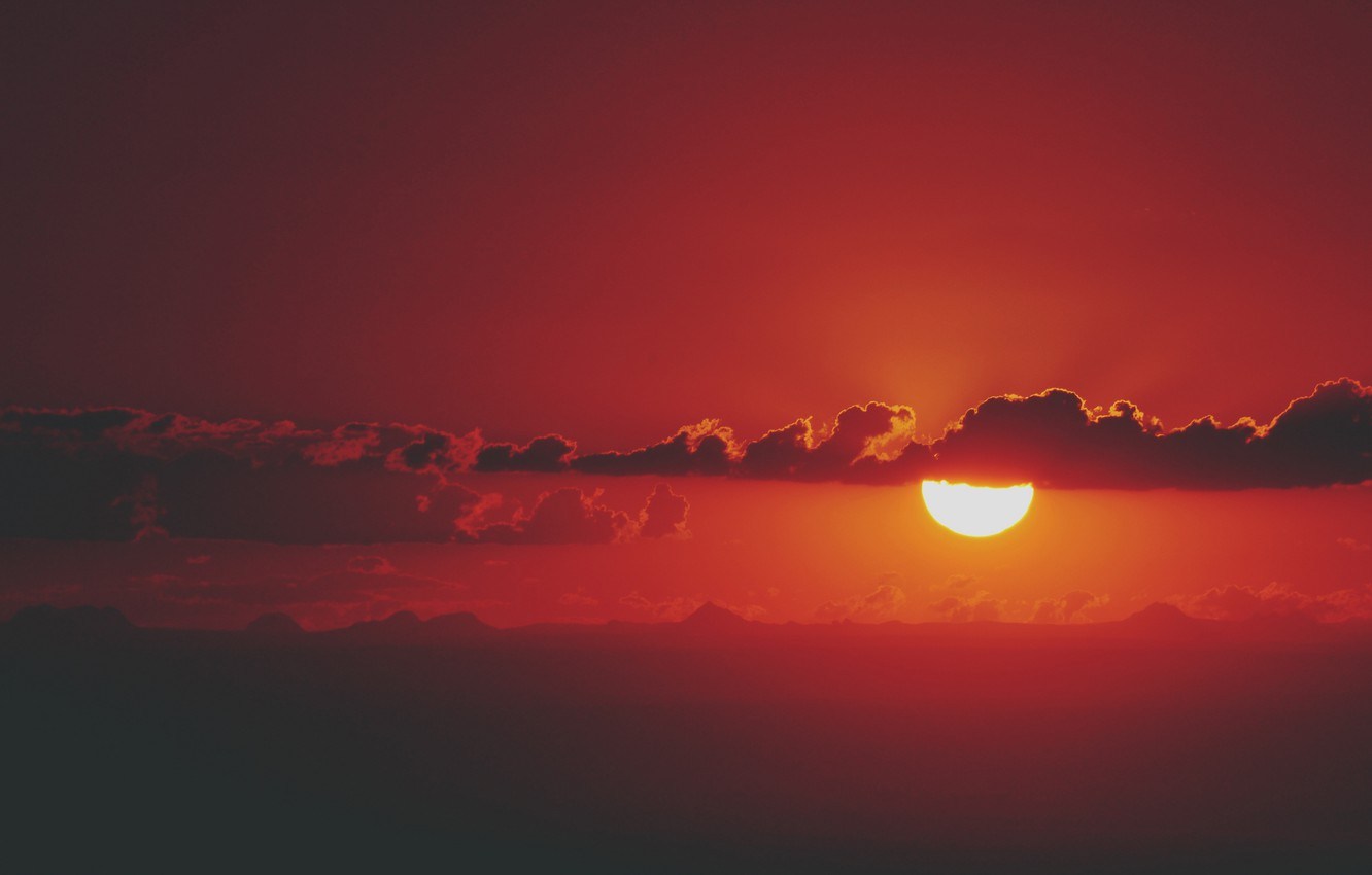 Photo wallpaper the sky, the sun, clouds, sunset, mountains, fire, the evening, silhouette