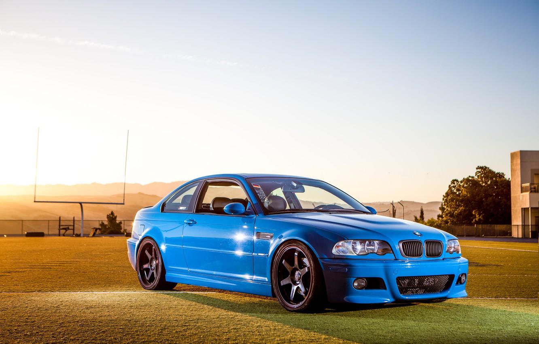 Photo wallpaper the sky, blue, reflection, black, bmw, BMW, drives, blue, e46