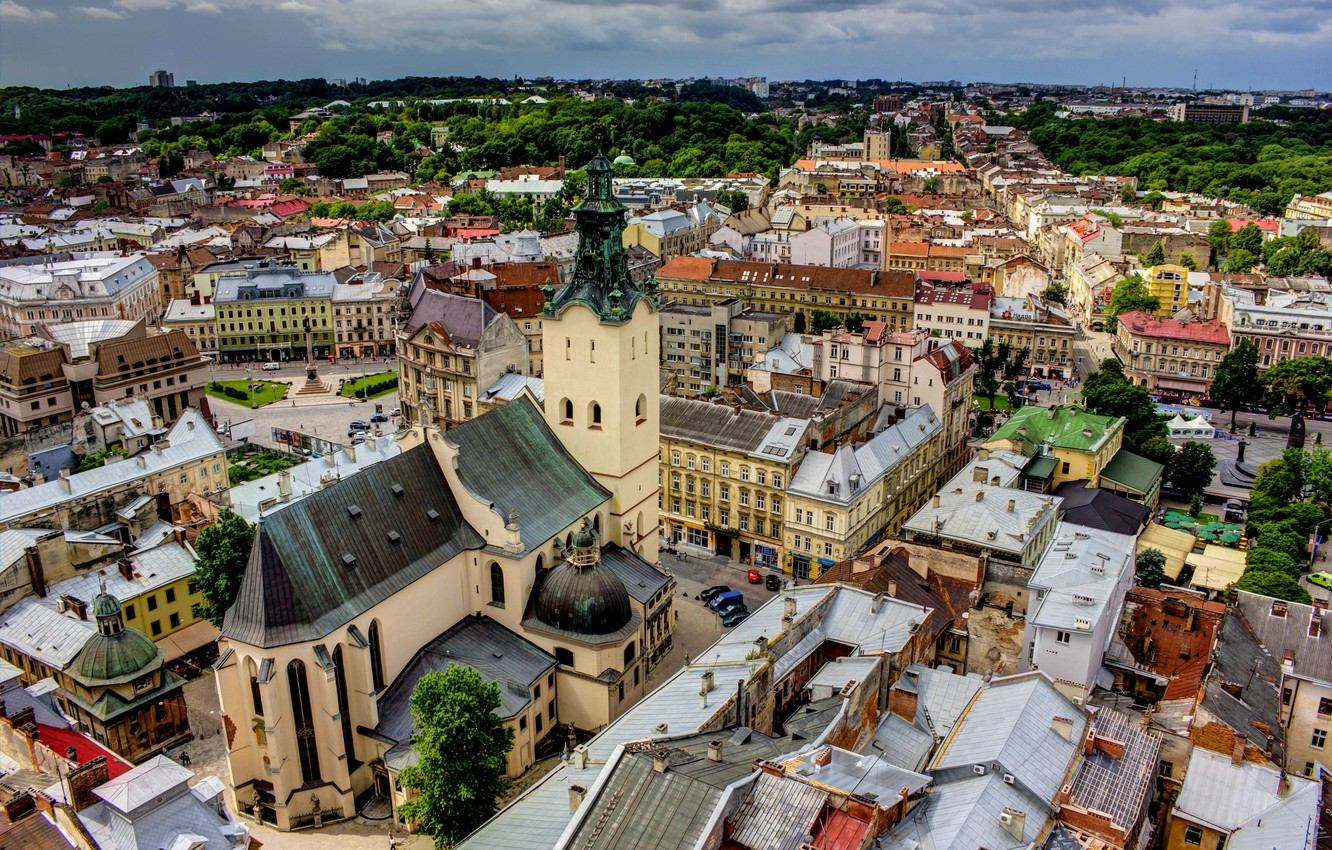 Photo wallpaper clouds, the city, overcast, building, home, roof, panorama, architecture, Ukraine, Lions, Lions, Latin Cathedral