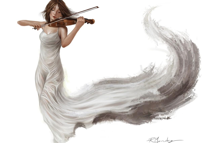 Photo wallpaper girl, white, violin, dress, art, music. background