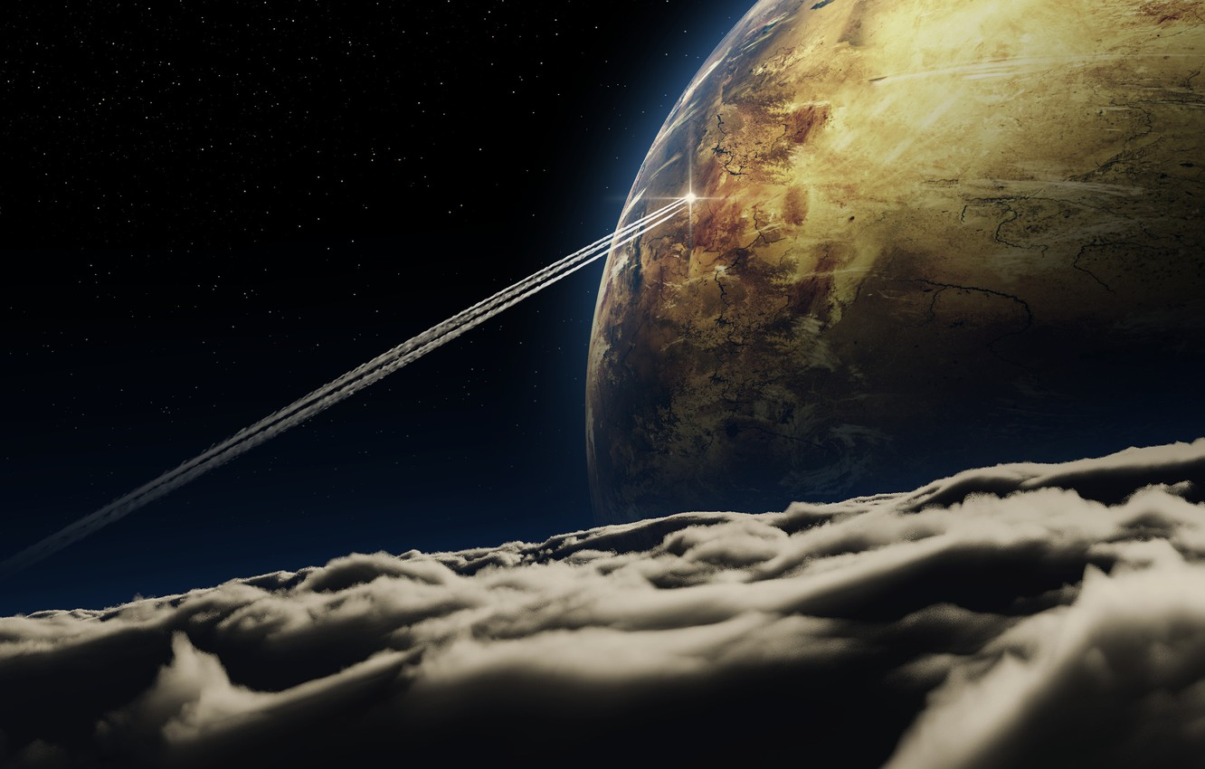 Photo wallpaper space, clouds, flight, trail, ship, planet, the atmosphere, art