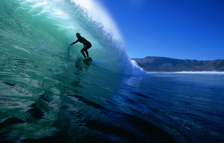 Photo wallpaper the ocean, wave, surfer