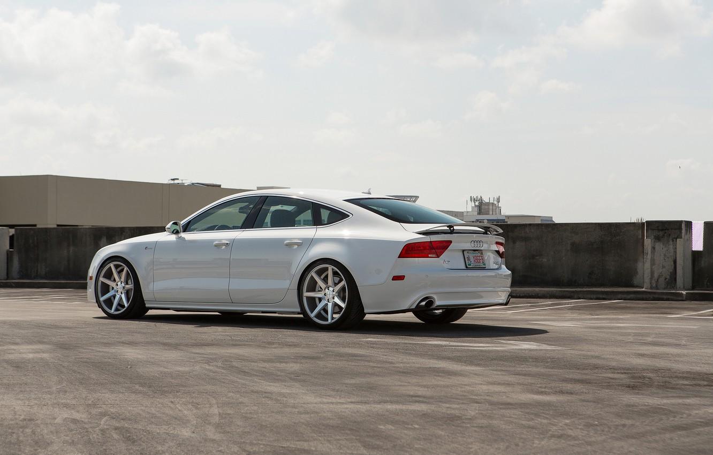 Photo wallpaper Audi, Audi, Machine, Tuning, White, White, Tuning, Vossen