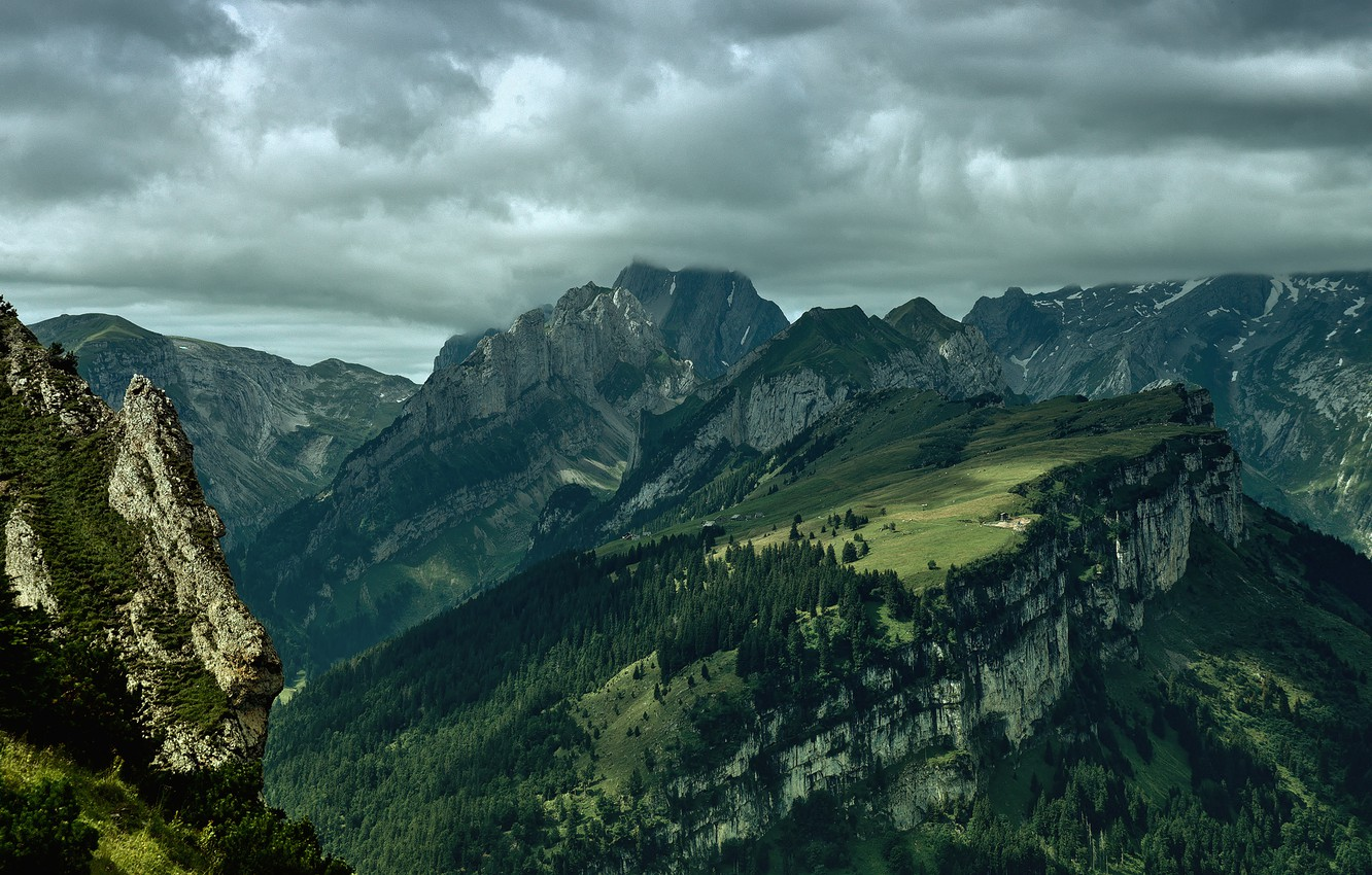 Photo wallpaper the sky, clouds, light, trees, landscape, mountains, nature, rocks, view, height, forest, nature, view