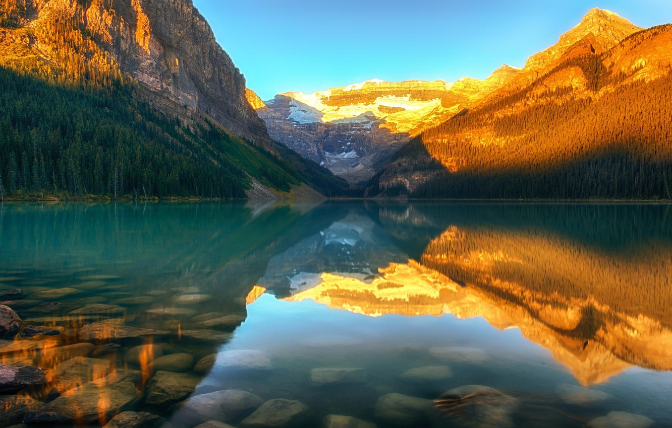 Photo wallpaper forest, sunset, mountains, nature, lake, Canada