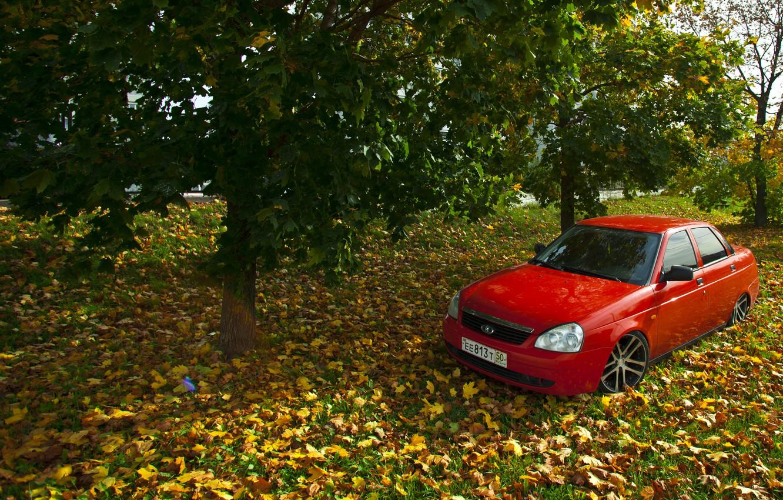Photo wallpaper machine, auto, autumn, leaves, auto, LADA, Priora, VAZ, BPAN, Prior