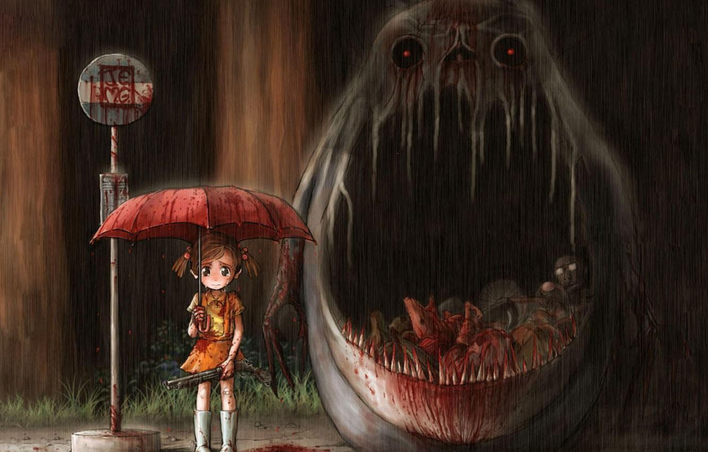 Photo wallpaper meat, my neighbor Totoro, horror, blood, tonari no totoro