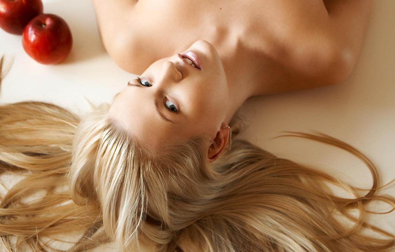 Photo wallpaper look, hair, apples, blonde, lies