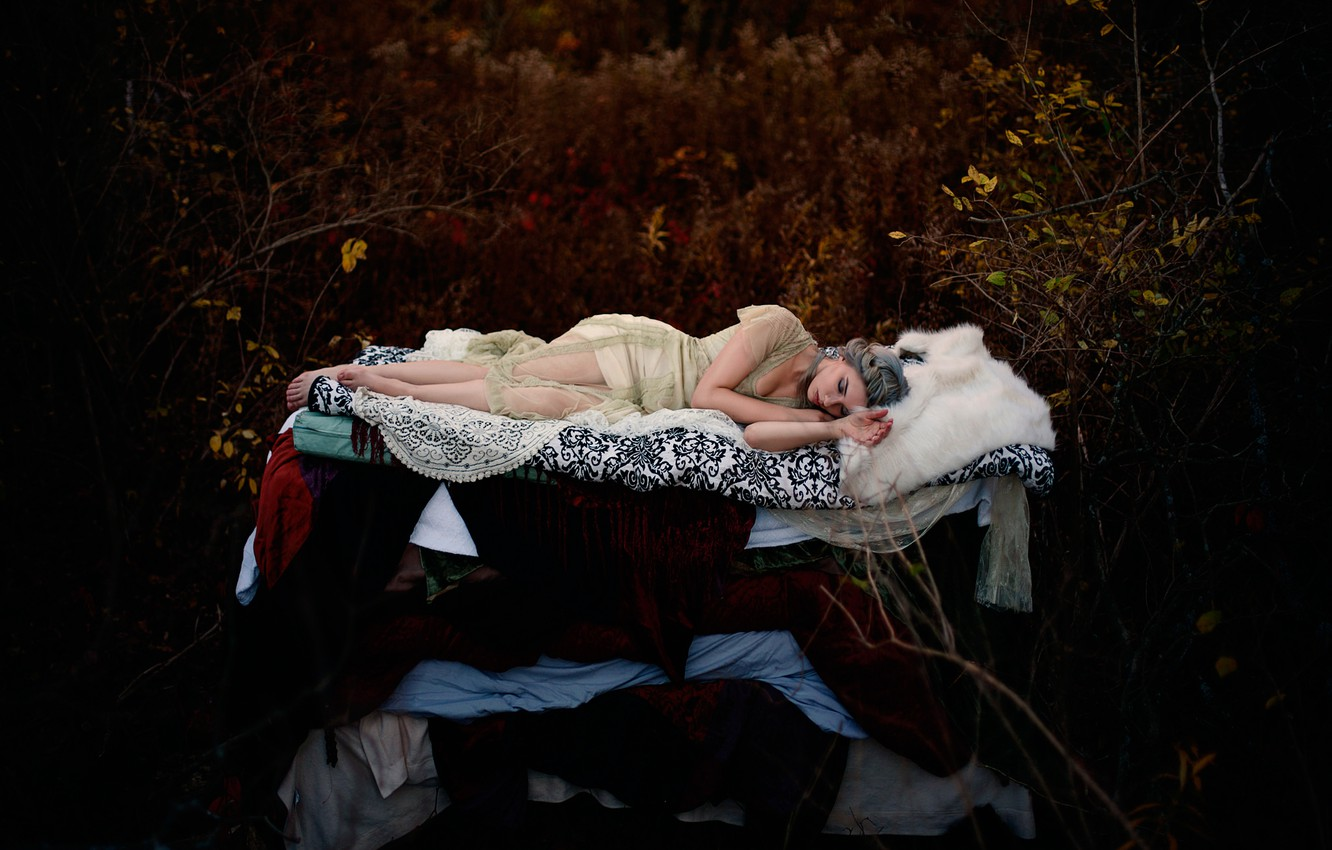Photo wallpaper forest, girl, sleep, fairy tale, Princess and the Pea, Hans Christian Andersen